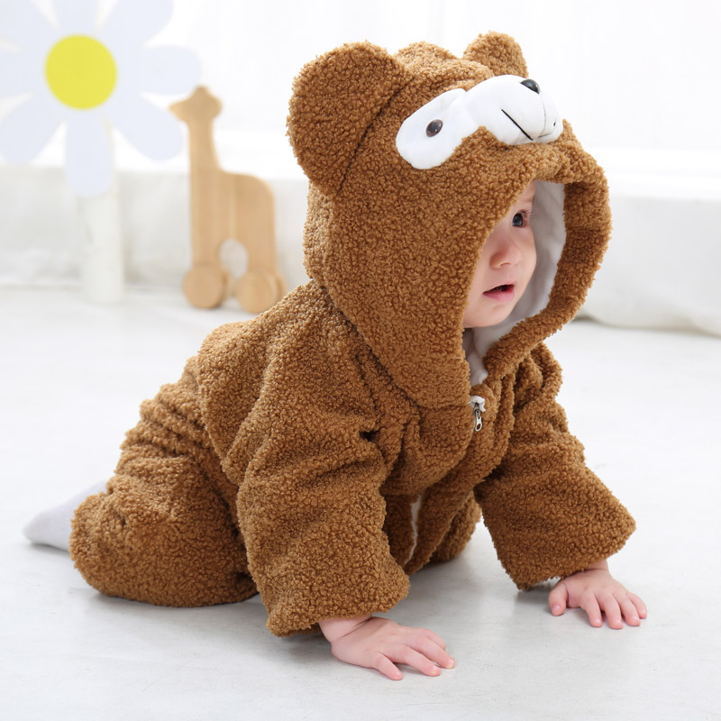 Baby Boys Girls Rompers Cartoon Bear Cute Japan Style Toddler Little Kids Rompers Zipper Coat Babe Infant Add Wool Clothes 2016 winter new soft bottom solid color baby shoes for little boys and girls plus velvet warm baby toddler shoes free shipping