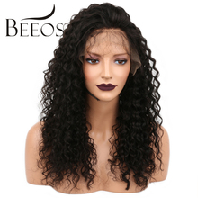 BEEOS 150% Density Kinky Curly Glueless Lace Front Human Hair Wigs For Black Women Brazilian Non Remy Hair Pre Plucked Lace Wigs