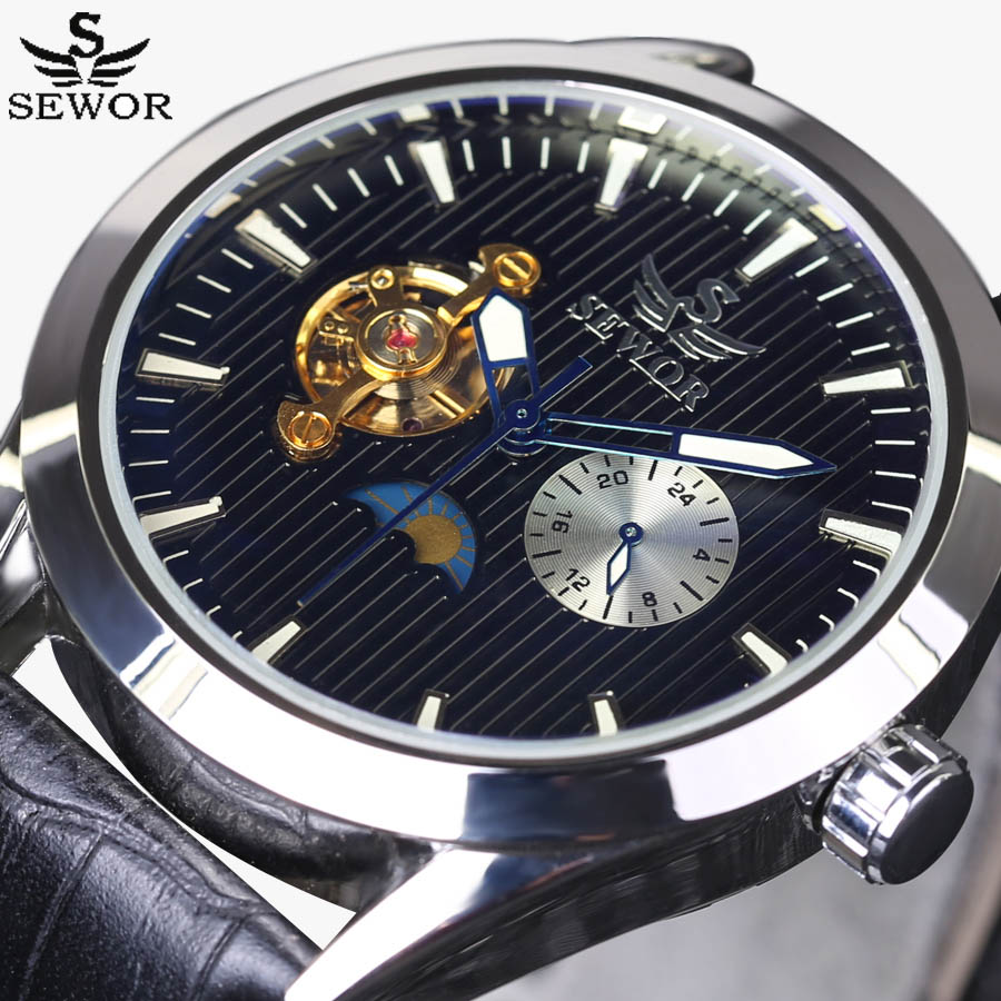 Tourbillon Men Watches Top Luxury Brand SEWOR Fashion Mechanical Watch 24 hours Moon Phase Military Wrist Watches Leather Strap ulefone power 2 5 5 inch 4gb 64gb smartphone gold