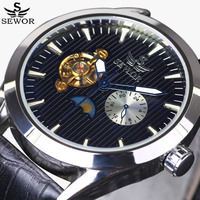 Tourbillon Men Watches Top Luxury Brand SEWOR Fashion Mechanical Watch 24 hours Moon Phase Military Wrist Watches Leather Strap