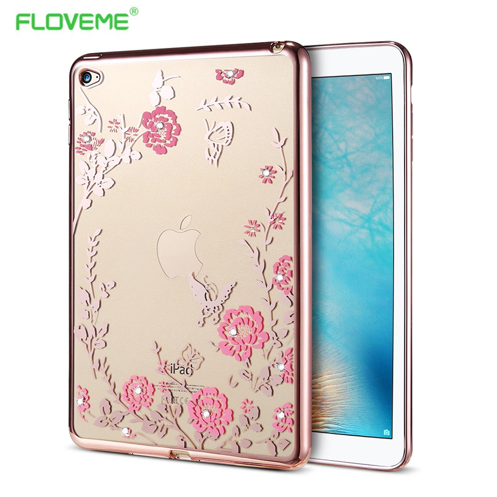 FLOVEME Soft Silicone Flowers Pad Case Accessories for Apple Pad Mini 4 Mini4 TPU Gel Bling Shinning Diamond Tablet Back Cover