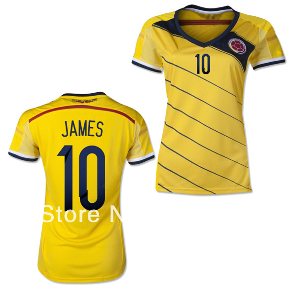 ... new zealand 2014 brazil world cup women colombia home soccer jersey  james jerseys number 10 football ... 7170ca72a
