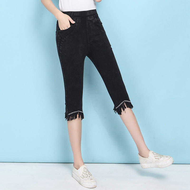 Women Capris Pants Female Summer 2019 Women's Black Skinny Pants Woman High Waist Stretch Tassel Pencil Pants Capri
