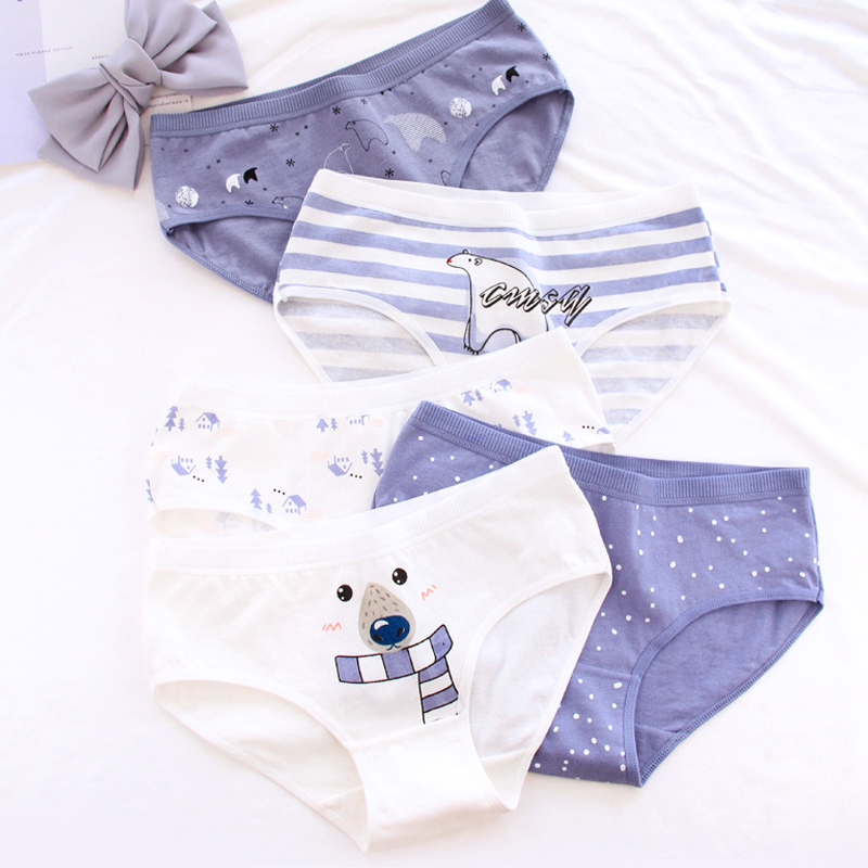 Women's Panties Polar Bear Pattern Cotton Underwear Girls Cute Printed Intimate Plus Size Sexy Cotton Breathable  Underwear