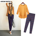 2017 Autumn Women's Sets Two Piece Pants Suits Long Sleeve Chiffon Blouse + Plaid Trousers Conjunto Feminino