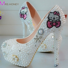 Sweet Pearl Crystal Beaded Round Toe lady's formal shoes Women's High Heels Beaded Bridal Evening Prom Party Wedding Dress Bride