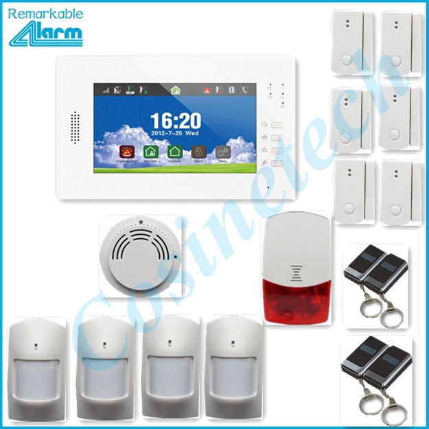 868MHZ Smart home security 7 inch touch screen GSM alarm system support IOS Android APP, door sensor, PIR sensor smoke sensor
