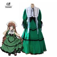 ROLECOS Brand New Anime Rozen Maiden Cosplay Costume Suiseiseki Jade Stern Cosplay Costumes Green Dress Full set
