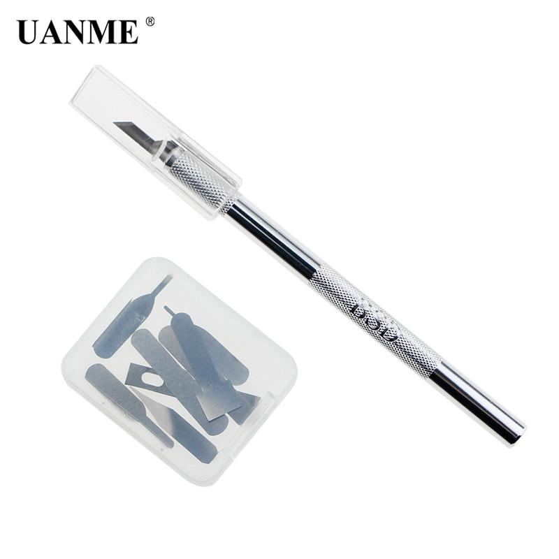 UANME Metal Scalpel Knife Non-slip Cutter Engraving Craft Knives + 8pcs Blades Mobile Phone Laptop PCB DIY Repair Hand Tools
