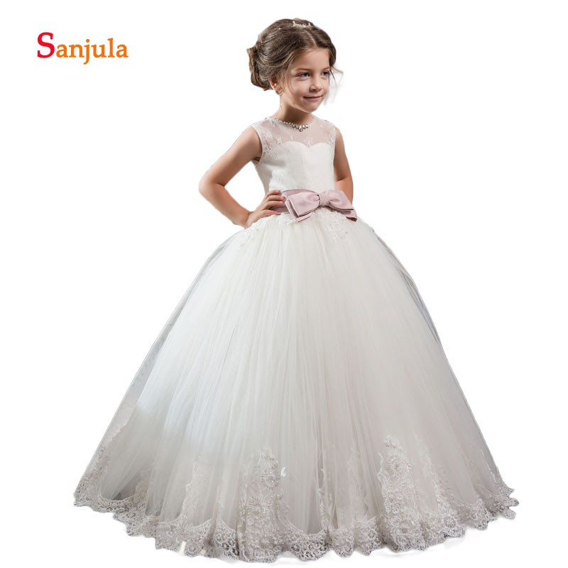 Ivory Tulle Ball Gown   Flower     Girls     Dresses   Sheer Lace O-Neck Bow Waist Attractive Holy Communion   Dresses   galajurk meisje D124