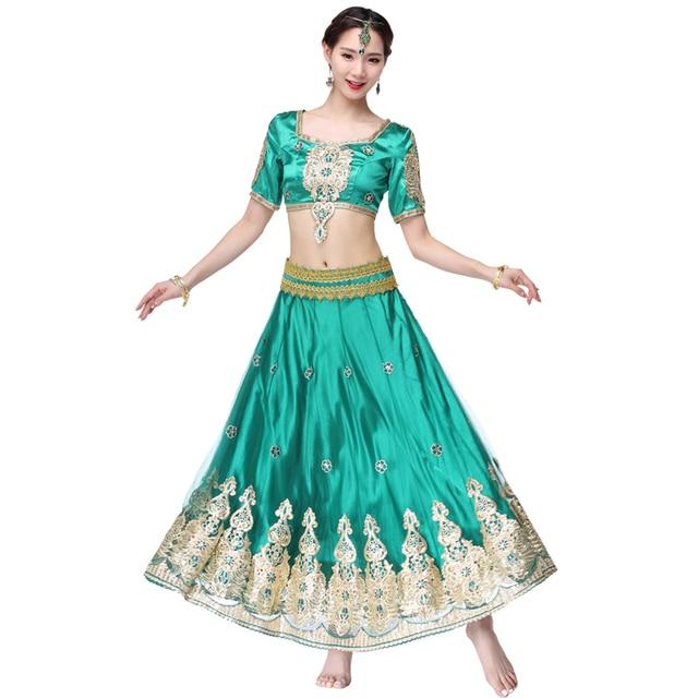 อินเดียชุดบอลลีวูดแบบดั้งเดิมชุดเครื่องแต่งกาย 3pcs ชุด + เข็มขัด + กระโปรงผู้หญิง Belly dance คำชุดเต็มเครื่องแต่งกายเต้นรำ