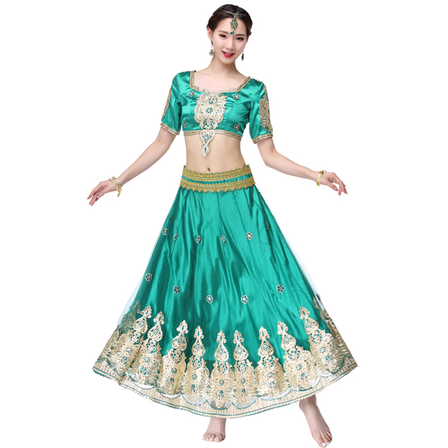 71eec4c517 Indian Outfits Bollywood Traditional Dress Costumes 3pcs Set Top+Belt+Skirt  Women Belly dance Arabic Themed Full Dance Costumes