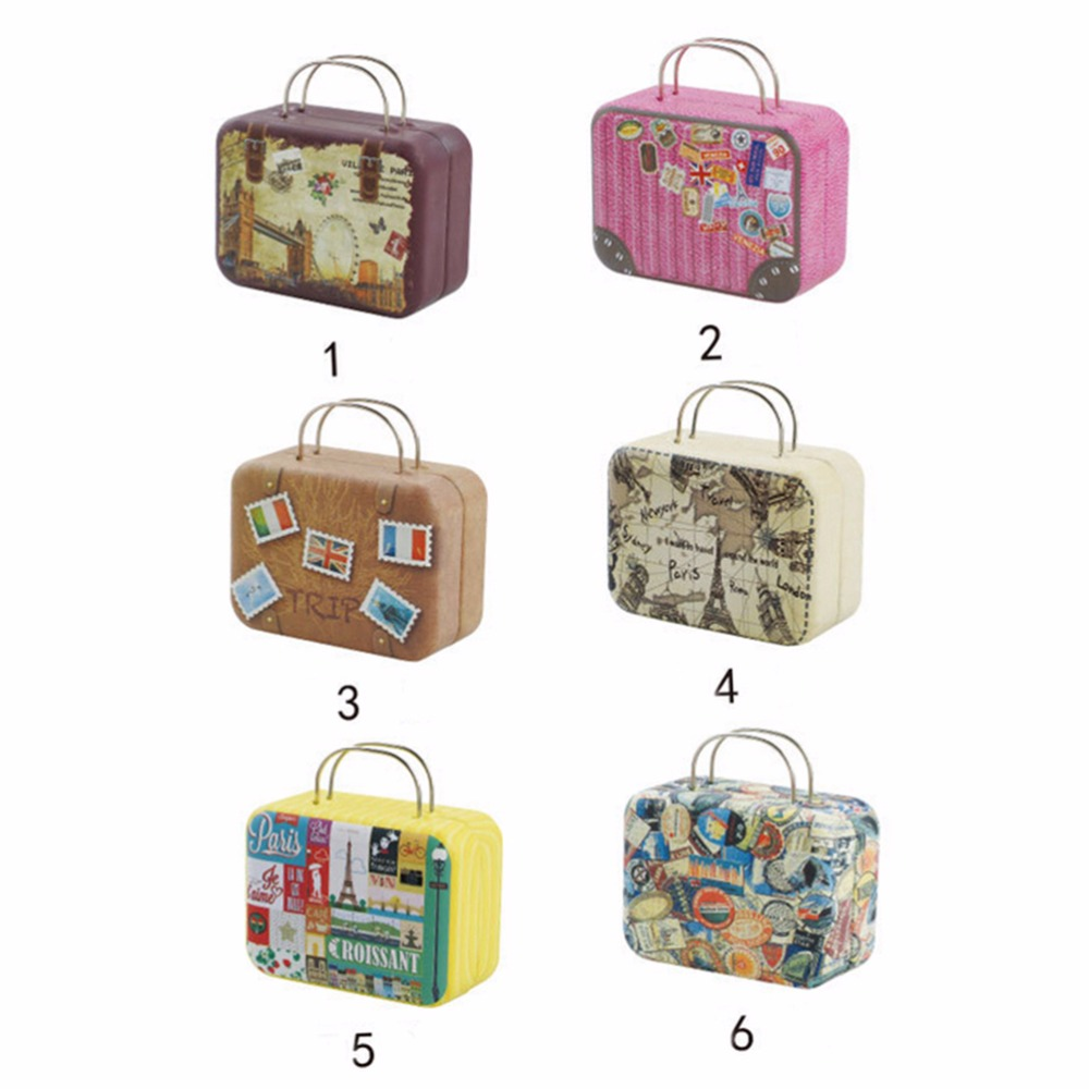 New Suitcase Shape Candy Storage Box Wedding Favor Tin Box Cable Organizer  Container Household Storage Boxes