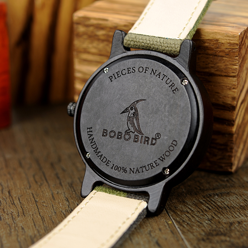 Image 4 - BOBO BIRD Army Green Watch Men Wood Luxury Top Brand Quartz Watches Great Gift for Boyfriend relogio masculino in Wooden BoxQuartz Watches   -