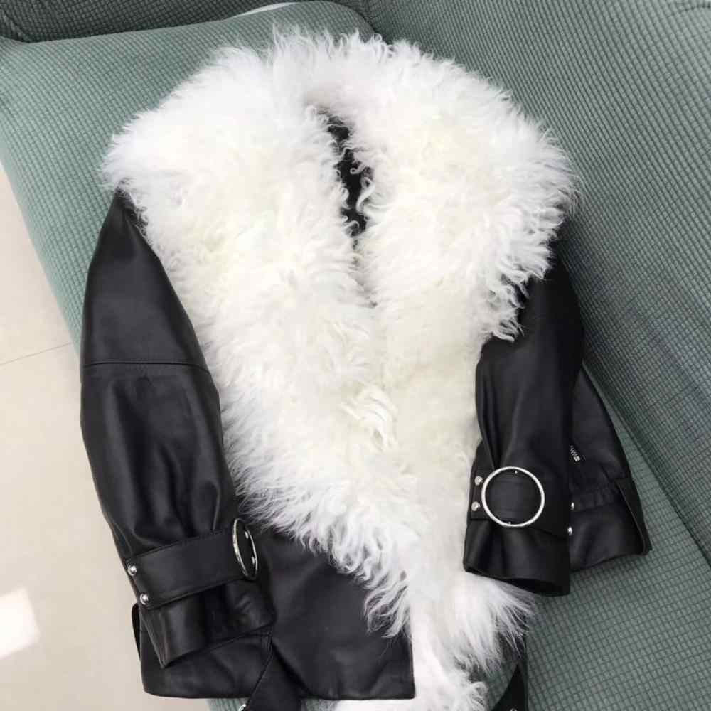 Genuine real leather jacket women gothic Mongolia Sheep Fur collar high quality winter coat women Motorcycle Biker Jacket Female