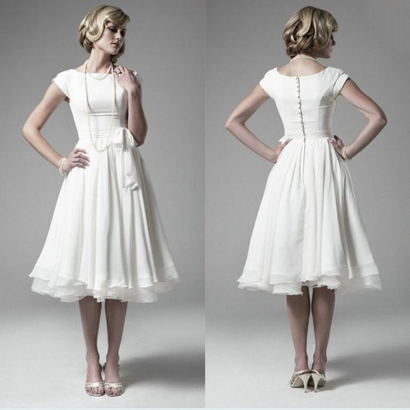 BU White Chiffon Wedding Dresses 2015 Short Sleeves A Line