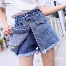 High Quality Denim Shorts Women 2019 Summer High Waist Skorts Skirts Slim Blue Short Jeans