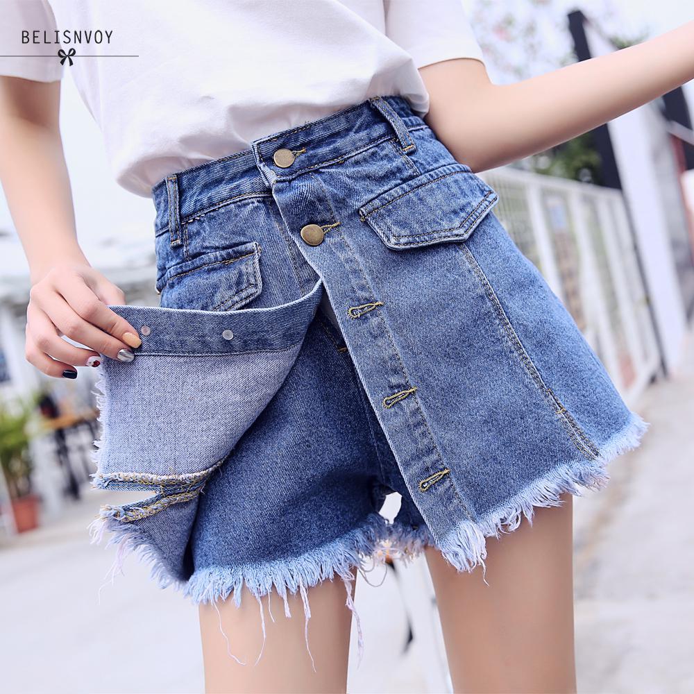 High Quality Denim   Shorts   Women 2019 Summer High Waist Skorts Skirts Slim Blue   Short   Jeans Vintage   Short   Feminino