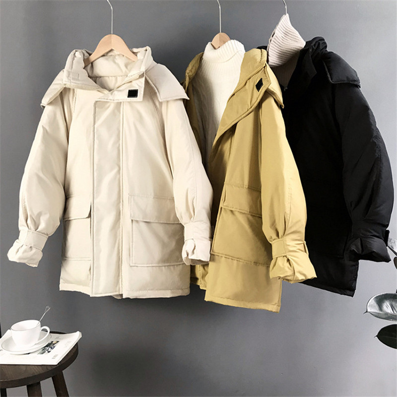 Winter Cotton Thicken women Coat 2018 Woman Jackets Cotton Padded Female Safari Style Hooded Coat Warm Jackets Female   Parka   3320