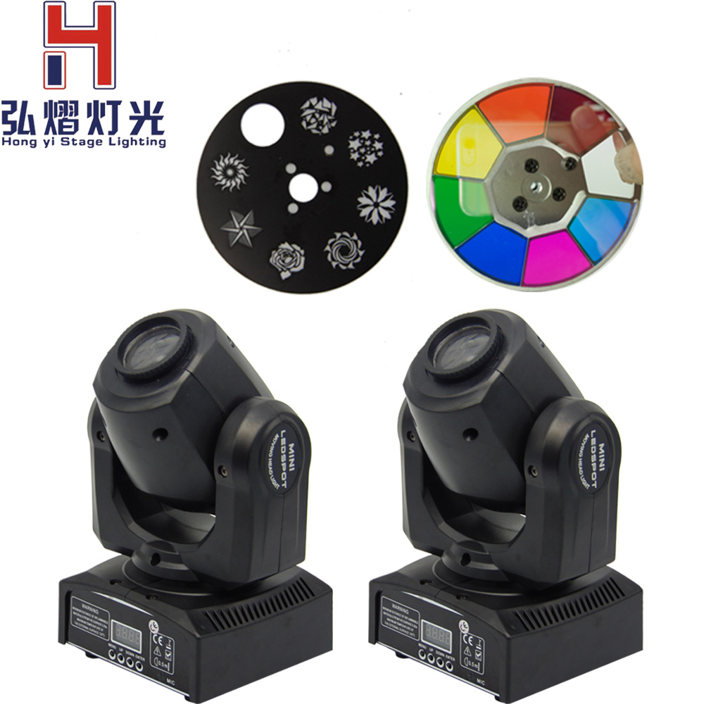 (2 pcs/lot) Fast Shipping LED 30W Spots Light DMX Stage Spot Moving 9/11 Channels 7 Colors Mini LED Moving Head Disco KTV Stage flight case with 2 4pcs lot quick shipment new led spot moving head light 30w 8 11 channels dmx stage light in stock