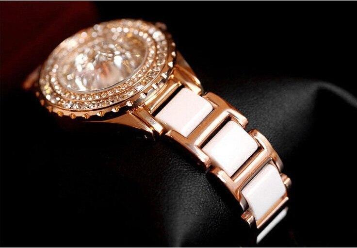 2017 NYA kvinnor mode klocka lyxiga Rose Gold Crystal Diamond Armband - Damklockor - Foto 4