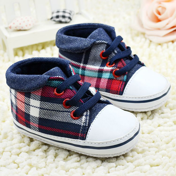 Toddler Boys Plaid Crib Shoes Sneakers Lace UP Soft Sole Baby Shoes Prewalkers Free Shipping