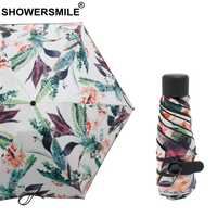 SHOWERSMILE Lightweight Mini Umbrella Pocket Women Leaves Print Ladies Umbrella 5 Fold 190T Nylon Female Fashion Sun Parasol