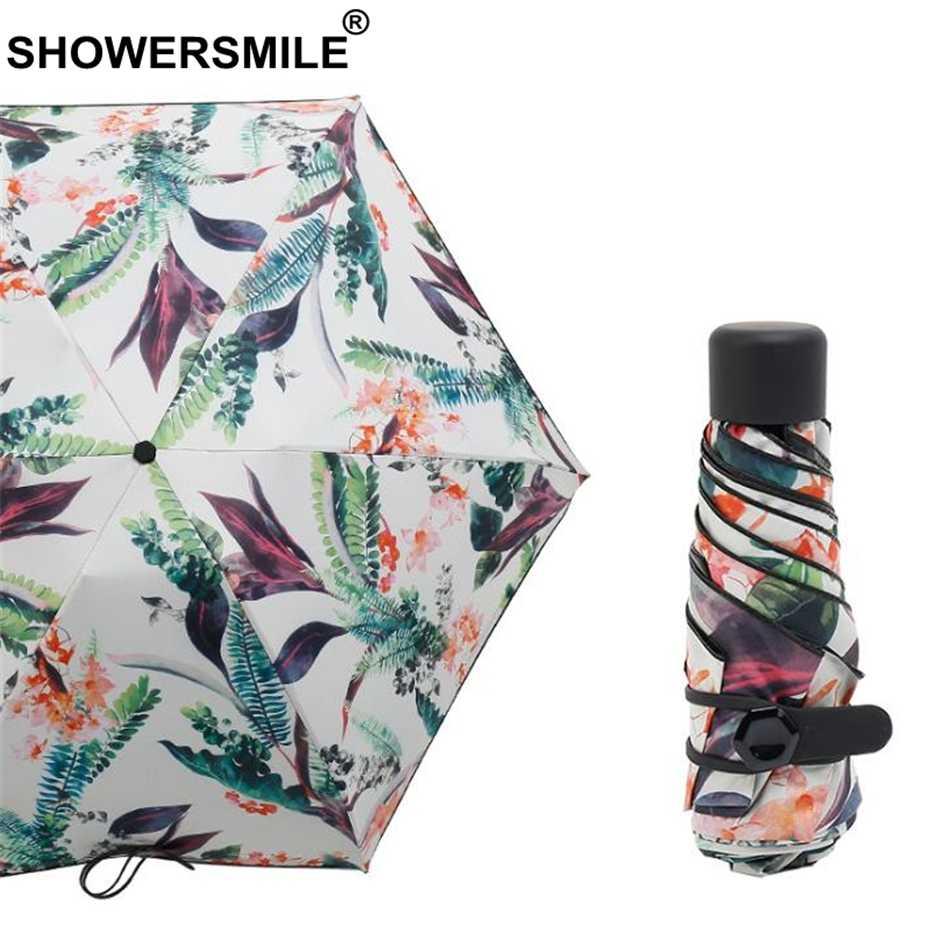 SHOWERSMILE легкий мини-зонтик Карманный Женский Зонт с принтом листьев 5 складной 190 Т нейлон женский модный солнцезащитный зонт