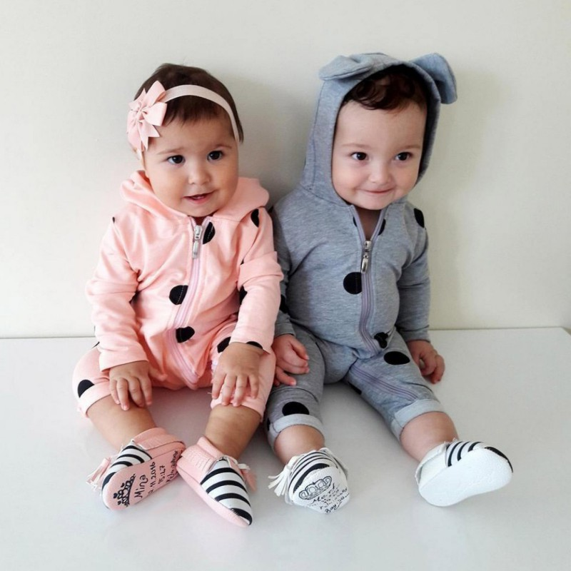 2018 Newborn Baby Warm Set Bear Ear Hooded Polka Dots Romper Jumpsuit Girl Boy Outfits Clothes Baby Boy Girl Clothes Pink/Grey newborn infant baby boy girl clothes hooded vest top short pants outfits set 2pcs suit summer baby boy clothes