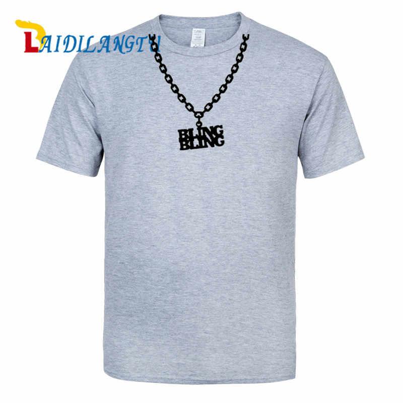 Mężczyźni odzież 2019 Bling bling, łańcuch, Gangster, rap inspirowane męska koszulka z nadrukiem okrągły dekolt z krótkim rękawem t shirt