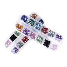 12 Color Mix Nail Art Rhinestones 2mm Strass Decoration Round Shape Designs All For Nails Charms Jewelry Supplies Professional