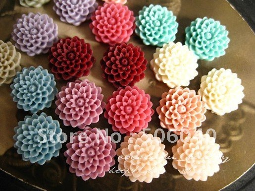 14mm 14 Colors Resin Cabochon Flower for Jewelry/Mobilephone Decoration Wholesale 100pcs/lot