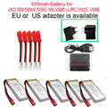 3.7 В 850 МАЧ Li-po батарея для JXD 509 509 Г 509 Вт/JJRC H12C/WL V686 батареи JD-509 FPV RC Мультикоптер запчасти зарядное устройство