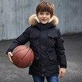 Рождество детские Зимние Куртки Белая Утка Вниз Мальчики С Капюшоном Пальто длинные Дети Куртка Устанавливает Теплые Для Девочек-Подростков С Реальными мех