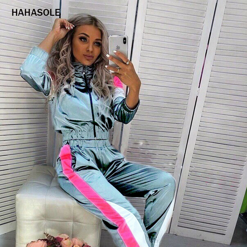 HAHASOLE Sportswear Women Reflective Two Pieces Sport Suit Set Zipper Yoga Set Elastic Drawstring Pants Tracksuits HWA4229-4