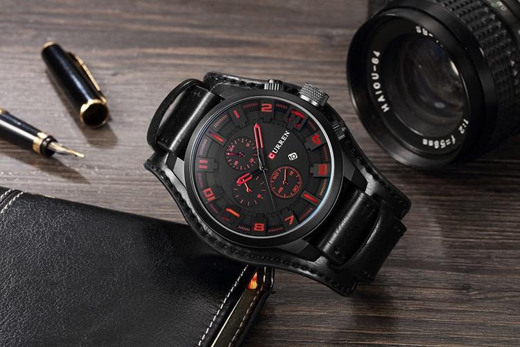 HTB1RF 4cBWD3KVjSZFsq6AqkpXai CURREN Top Brand Luxury Mens Watches Male Clocks Date Sport Military Clock Leather Strap Quartz Business Men Watch Gift 8225