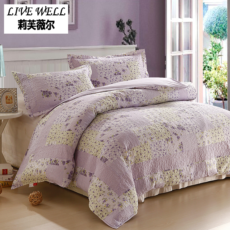 4PCS 100% Cotton Bedding Sets Full set of home textile bedding Purple flower print large bed suits Bedding Set Supply