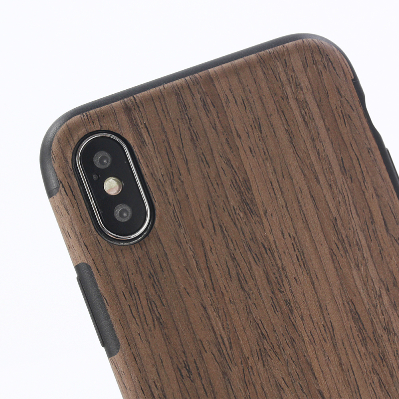 iPhone X 10 Stitching Wood grain PU leather + TPU XH_3