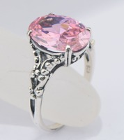 2015 fashion women noble princess royal engagement classical zircon pink ring 925 sterling silver wedding rings