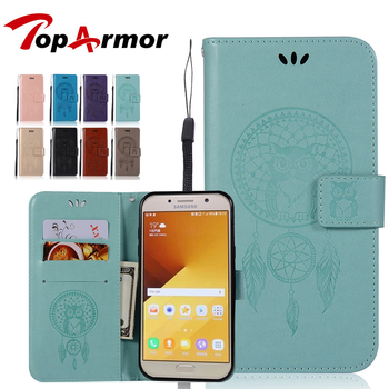 TopArmor Flip Leather Cases for Fundas Samsung Galaxy A5 2017 Campanula Owl Wallet Cover Stand Phone Cases