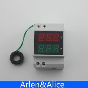 Image 2 - Misuratore di tensione e corrente con display a LED su guida Din con trasformatori di corrente CT extra gamma amperometro voltmetro ca 80 300V 0.1 99,9a