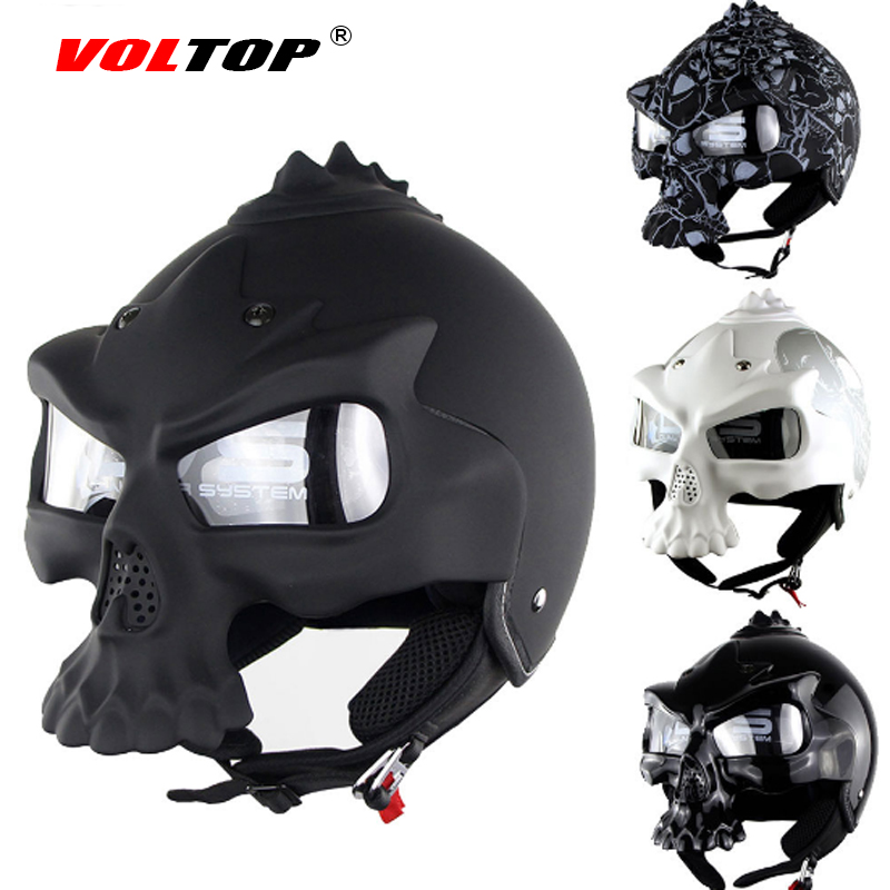 VOLTOP Skull Bone Helmet Motorcycle Helmets Chopper With Goggles Skeleton Harley Moto Hats Outdoor Casque Head Protection Helm head cover outdoor mask with skull head motorcycle bicycle riding climbing uv protect full face ghost skull mask skeleton hats