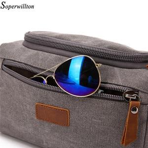 Image 3 - Soperwillton 男性旅行トイレタリーバッグ 2020 ボストンバッグパッキングキューブバッグ dopp キット男性のキャンバス革トラベルバッグ #601