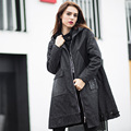 2016Winter women long Denim coat hooded Quilted outfit female outerwear casual jeans Cotton-padded overcoat top plus size XXXXXL