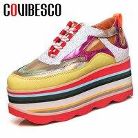 COVIBESCO/летние женские туфли из натуральной кожи на плоской подошве; дышащие женские кроссовки с круглым носком на платформе; разноцветная по