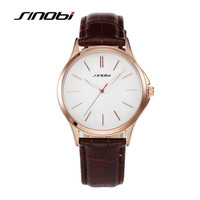 SINOBI New Casual Watches High Quality Leather Wristwatch Men Luxury Brand Simple Sport Military Watch Hours