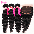 Human Hair Brazilian Virgin Hair Brazilian Deep Wave 3 Bundles With Closure 8A Brazilian Deep Curly Virgin Hair Lace Closure