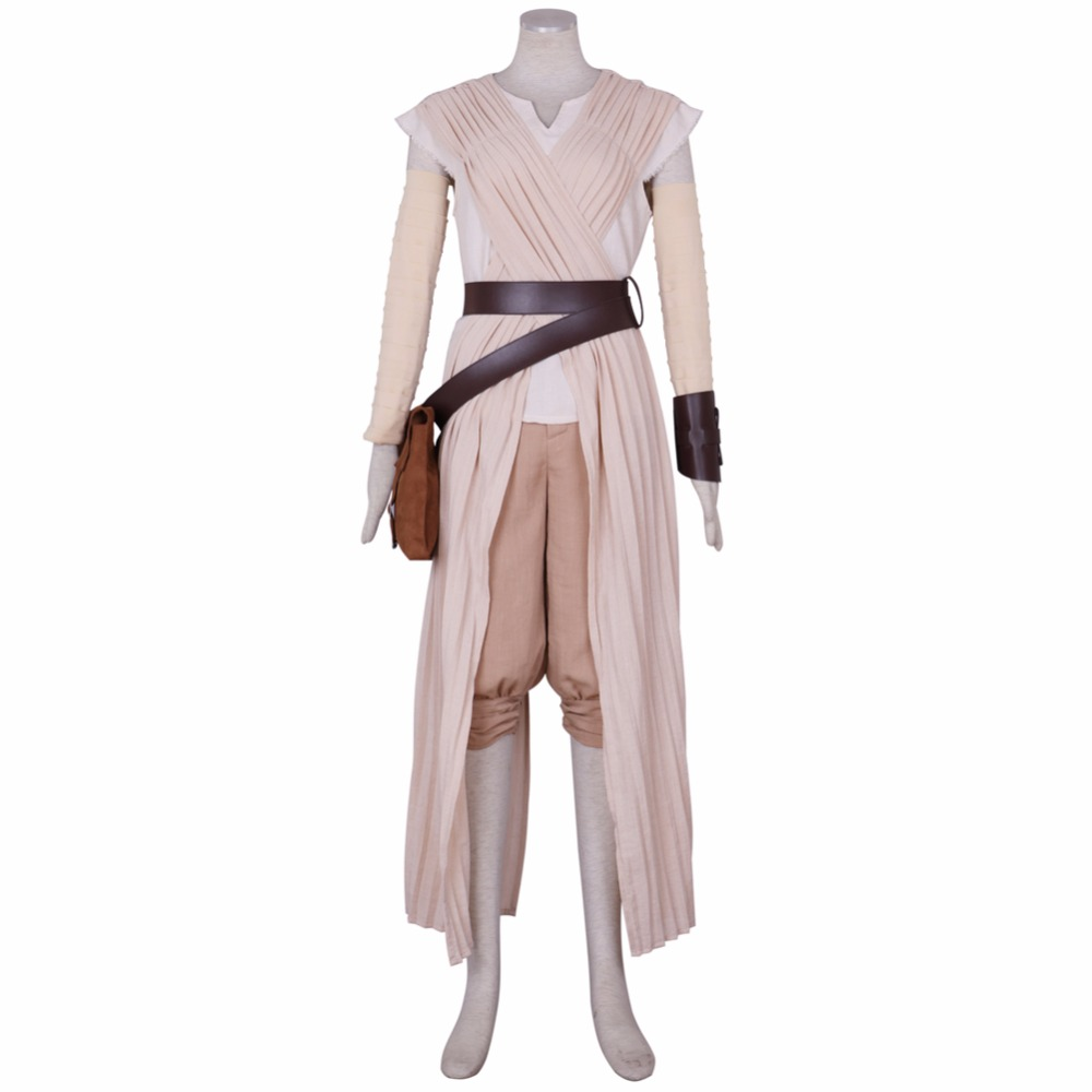Halloween Star Wars The Force Awakens Rey Dress Bag Belt Fancy Cosplay Costume Star Wars 7 High Quality Deluxe