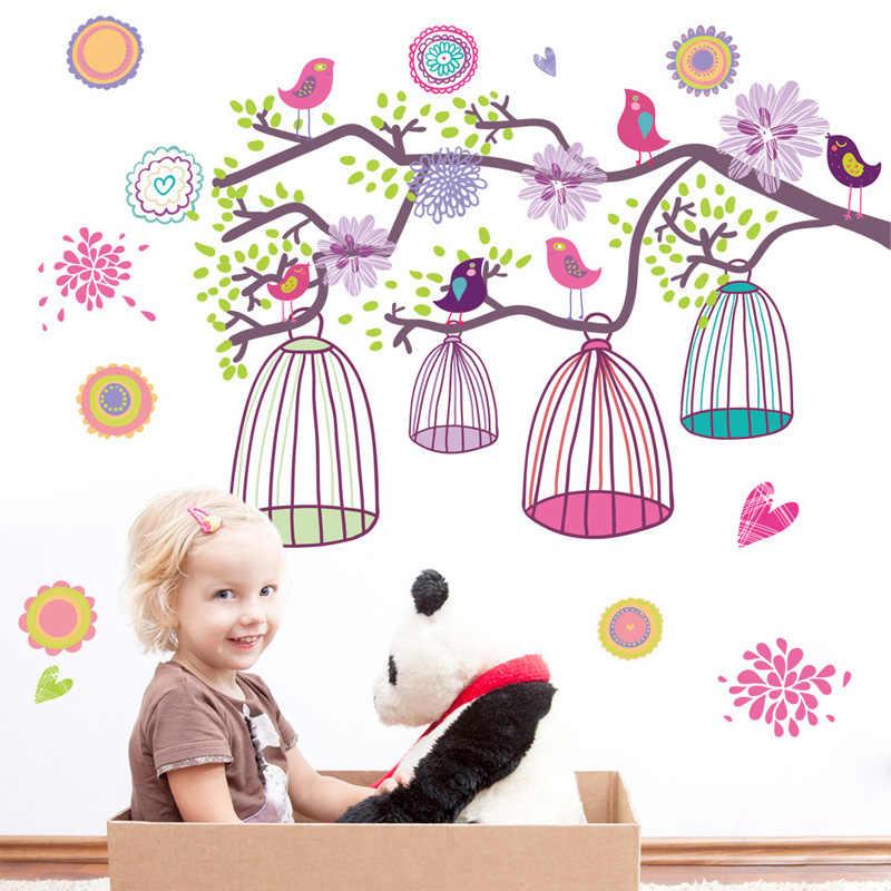 Zweig vogel käfig Wand Aufkleber für kinder baby zimmer wohnzimmer schlafzimmer hintergrund dekorationen wallpaper nursery Abnehmbare aufkleber