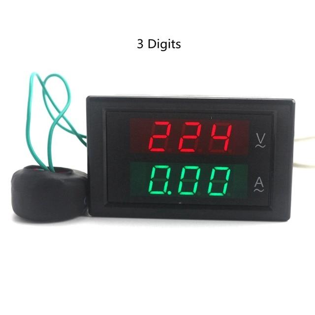 Lab din rail led ac voltmeter ammeter volt amp meter gauge 80-300v 0-100a OJ